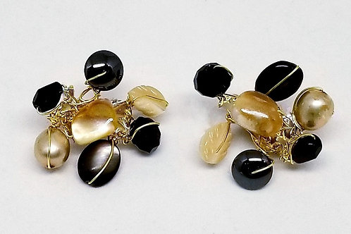 black beige grey gem cluster earring