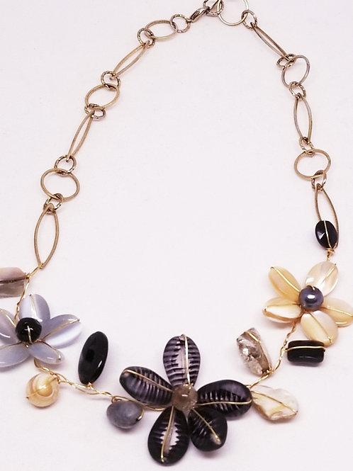 black beige grey gem flower section necklace gw