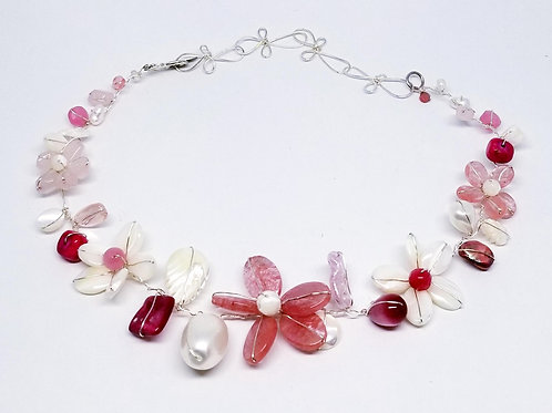 pink white gem flower collar sw
