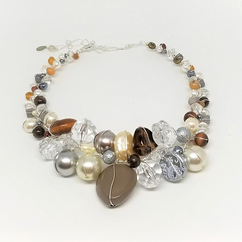 Gray Clear Pearl Brown Large collar sw