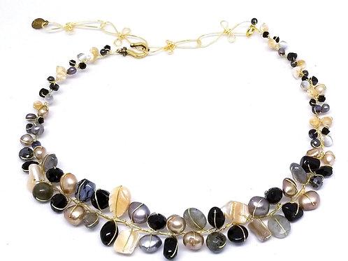 black beige grey gem small collar gw