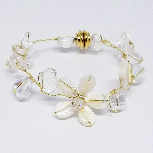 white moonstone gem flower bracelet gw