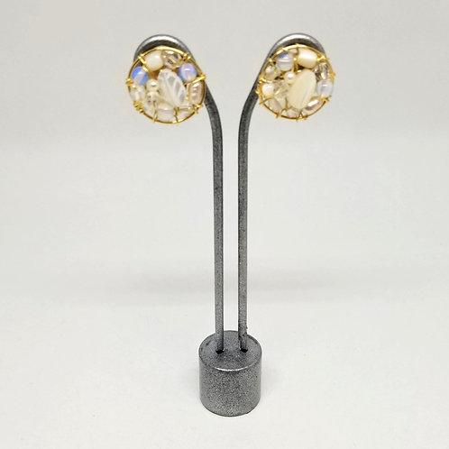 white ab clear gem button earring gw