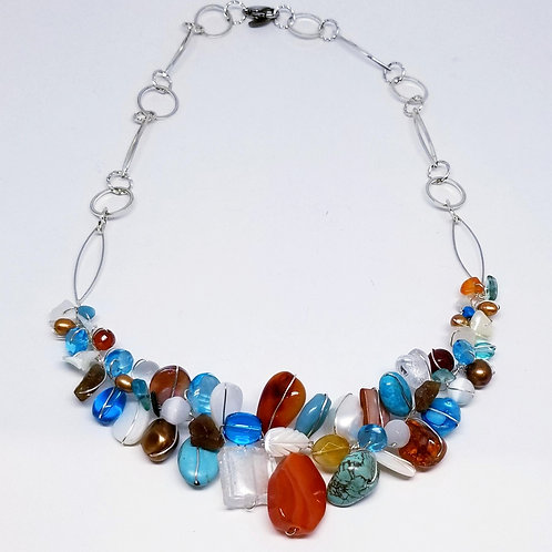 blue brown white gem section necklace sw