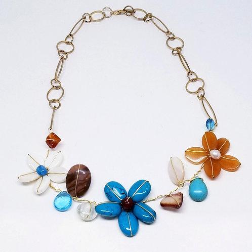 blue brown white gem flower section necklace gw