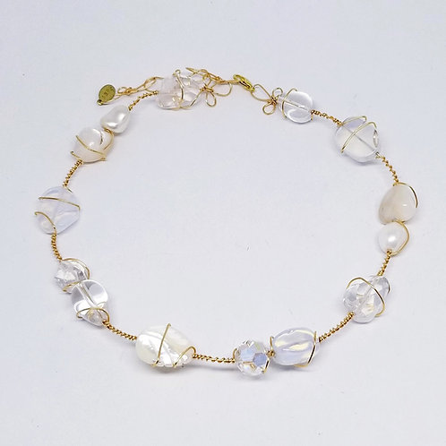 white moonstone ab clear gem herringbone necklace gw