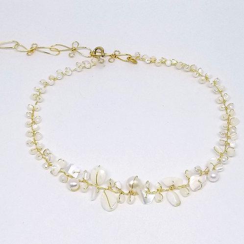 white pearl gem small collar gw