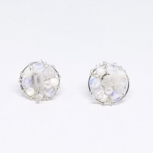 white ab clear gem button earring sw