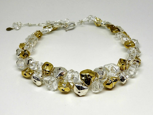 Shiny Gold/Shiny Silver/Clear Nugget Collar sw