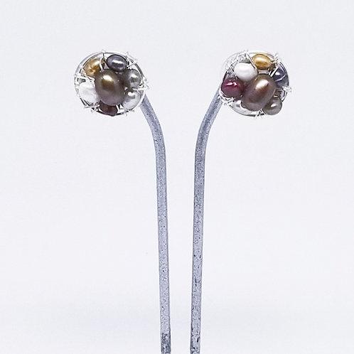 multi pearl button earring sw