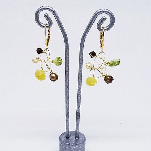 green brown gem web earring gw