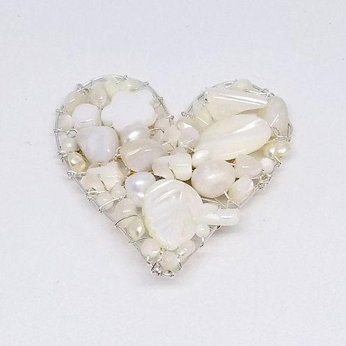 white pearl gem heart pin sw