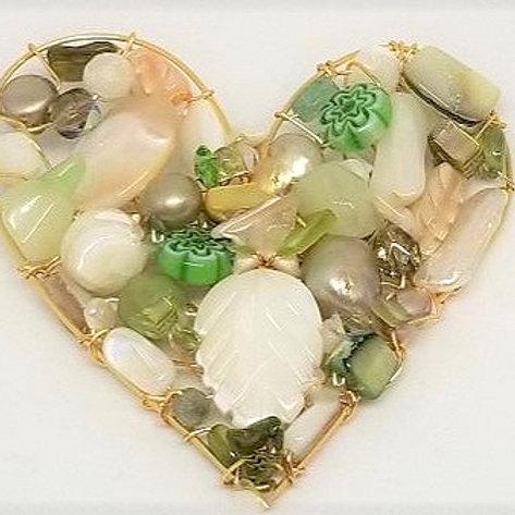beige green white heart pin gw