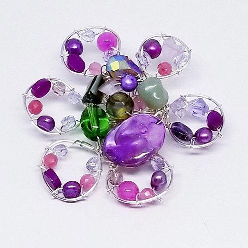 purple green gem flower pin sw