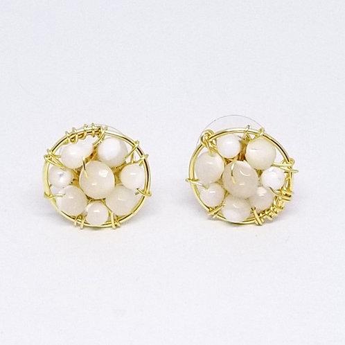 white pearl gem button earring gw