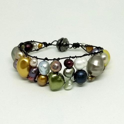 multi pearl cuff bracelet bw