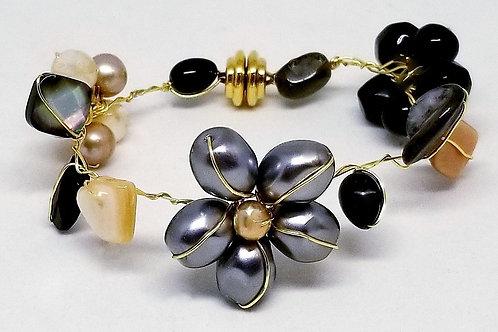 black beige grey gem flower bracelet gw