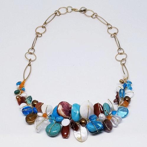 blue brown white gem section necklace gw