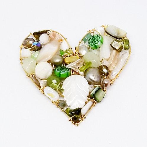 beige green white gem heart pin/pendant gw