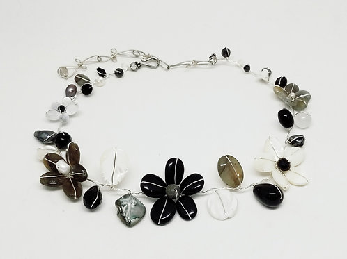black white grey gem flower collar sw