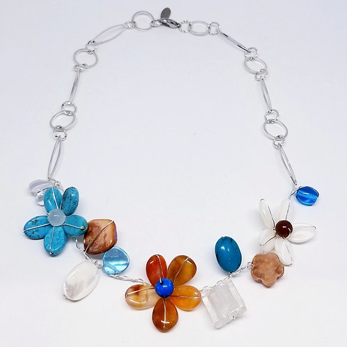 blue brown white gem flower section necklace sw