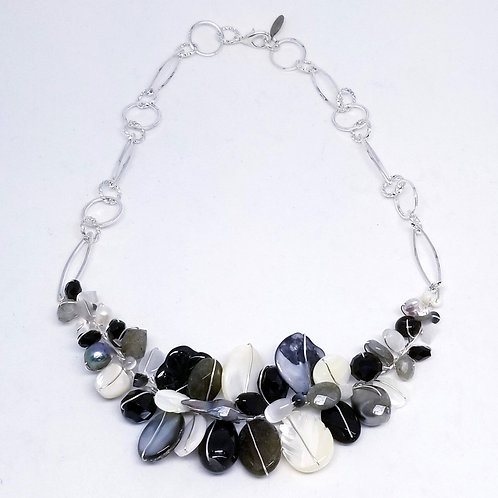 black white winter gem section necklace sw