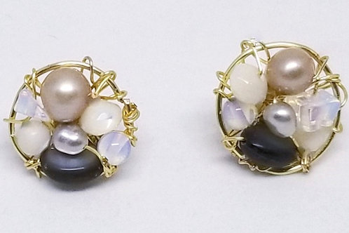 beiges gem button earring gw