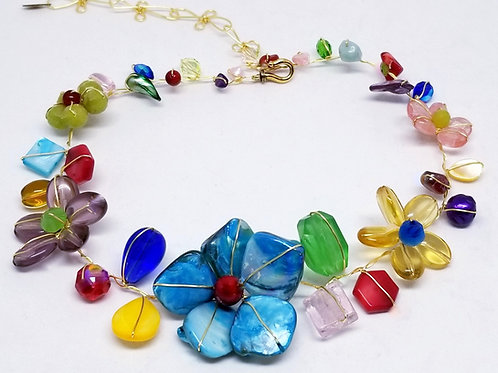 multi gem flower collar gw