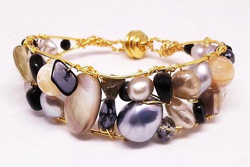 black beige grey gem cuff bracelet gw