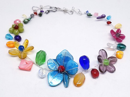 multi gem flower collar sw
