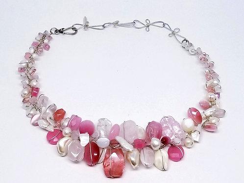 pink white gem large collar sw