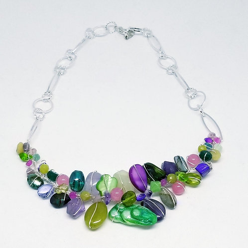 purple green gem section necklace sw