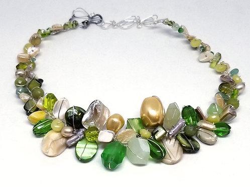 beige green gem large collar sw