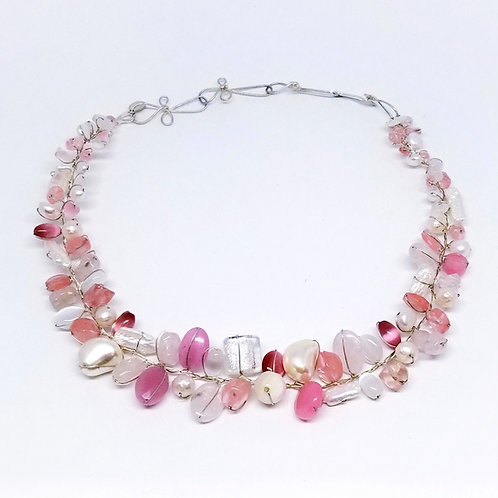 pink white gem small collar sw