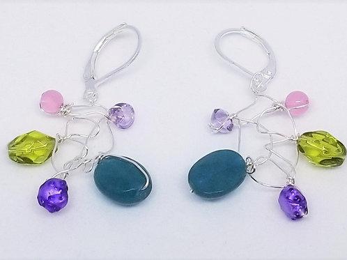 purple green gem web earring sw
