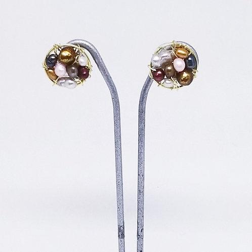 multi pearl button earring gw