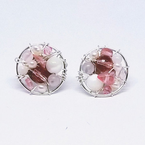 pink white gem button earring sw