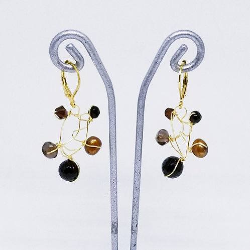 black brown gem web earring gw