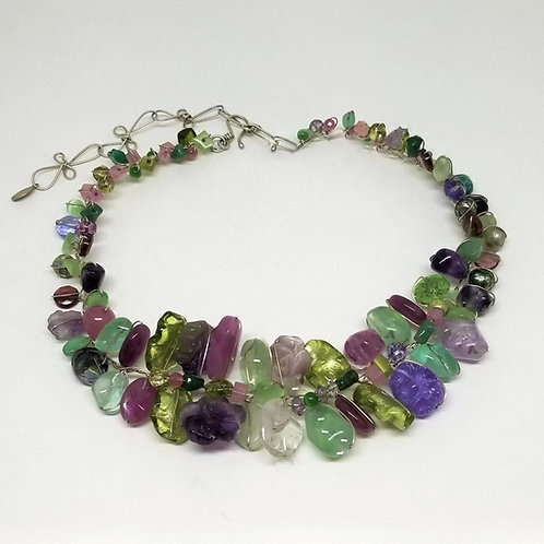 purple green gem large collar sw