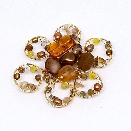 fall gem flower pin gw