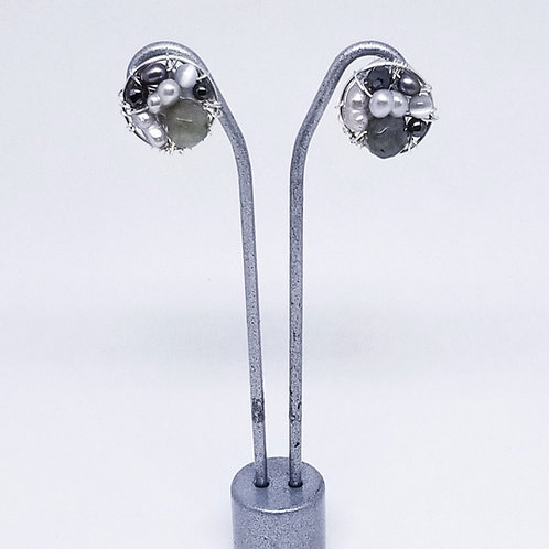 grey gem button earring sw