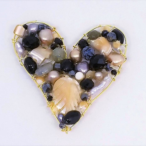 black beige grey gem heart pin gw