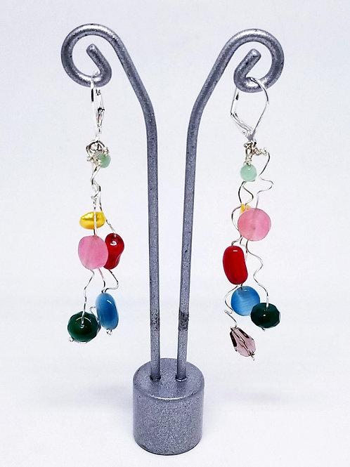 multi gem wiggle earring sw