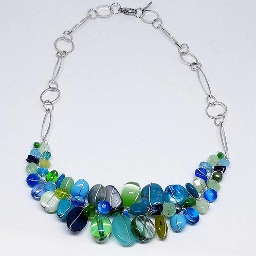 blue green gem section necklace sw