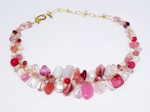 pink white gem large collar gw
