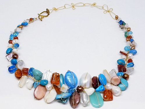 blue brown white gem large collar gw
