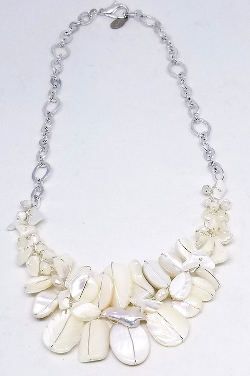 white pearl gem section necklace sw