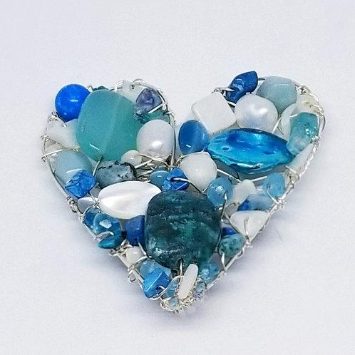 blue white gem heart pin/pendant sw