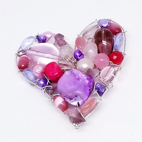 pink purple gem heart pin/pendant sw