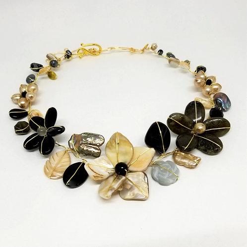 black beige grey gem flower collar gw